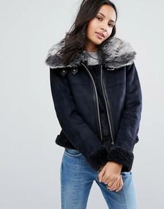Куртка с широким меховым воротником Urbancode - Темно-синий
