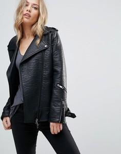 Длинная байкерская куртка из фактурной искусственной кожи Urbancode - Черный