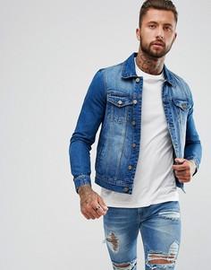Синяя выбеленная джинсовая куртка Hoxton Denim - Синий