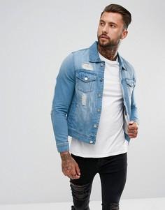 Светлая джинсовая куртка с рваной отделкой Hoxton Denim - Синий