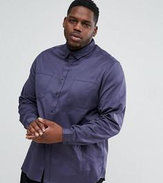Синяя рубашка навыпуск с двумя карманами ASOS PLUS - Синий