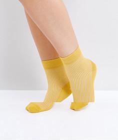 Однотонные носки в рубчик ASOS - Желтый