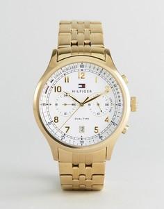 Золотистые часы с хронографом Tommy Hilfiger 1791390 Emerson - Золотой