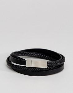 Черный кожаный браслет в несколько оборотов ALDO - Черный