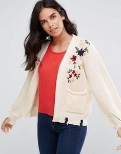 Кардиган с цветочной вышивкой Amy Lynn - Кремовый