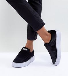 Черные бархатные кроссовки на платформе с ремешком Puma - Черный