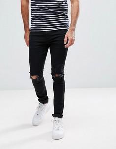 Супероблегающие джинсы стретч с прорехами LDN DNM - Черный