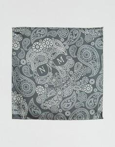 Шелковый платок для пиджака с принтом пейсли и логотипом Noose & Monkey - Серый