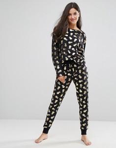 Пижама с принтом ананасов Chelsea Peers - Черный