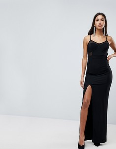 Платье макси с сетчатыми вставками Glamorous - Черный