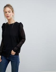 Блузка с кружевными рукавами Blend She - Черный
