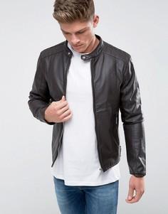 Байкерская куртка из искусственной кожи Barneys Originals - Коричневый