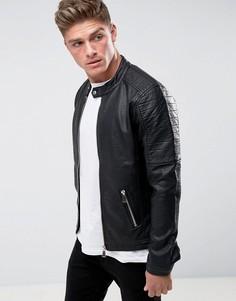 Байкерская куртка в рубчик из искусственной кожи Barneys Originals - Черный
