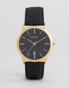 Часы с черным кожаным ремешком Sekonda 1370 - Черный