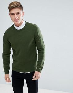 Темно-зеленый джемпер из овечьей шерсти ASOS - Зеленый