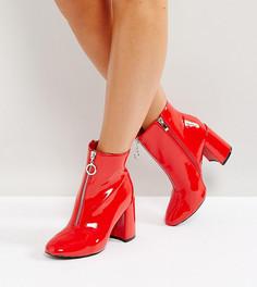 Красные виниловые ботильоны для широкой стопы с молнией спереди Lost Ink - Красный