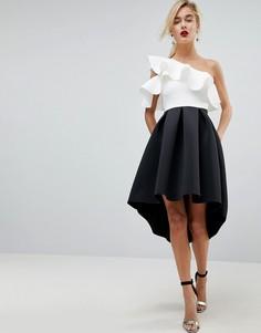Платье для выпускного на одно плечо с оборкой и асимметричным краем ASOS - Мульти
