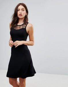 Платье миди с кружевом Only Nille - Черный