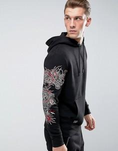 Худи с вышивкой дракона Threadbare - Черный