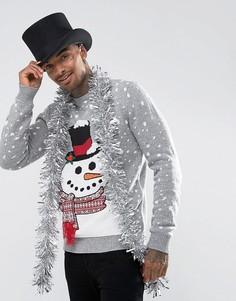 Новогодний джемпер со снеговиком и 3D-отделкой Threadbare - Серый