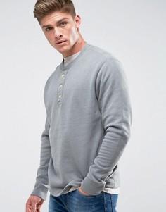 Серый меланжевый свитшот хенли Abercrombie & Fitch - Зеленый