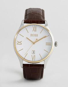 Часы с коричневым кожаным ремешком BOSS By Hugo Boss 1513486 Governor - Коричневый