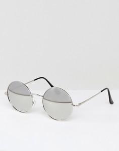 Круглые солнцезащитные очки с зеркальными стеклами 7x - Серебряный