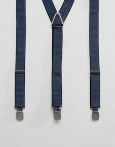 Темно-синие жаккардовые подтяжки Peter Werth - Синий