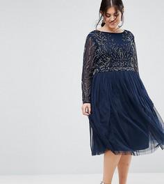 Декорированное короткое приталенное платье с юбкой из тюля Lovedrobe Luxe - Темно-синий