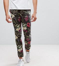Супероблегающие брюки с ярким цветочным принтом ASOS TALL - Черный