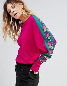 Свитшот с цветочной вышивкой Free People - Розовый