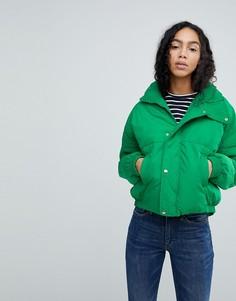 Укороченная стеганая куртка Free People - Зеленый