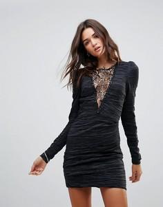 Облегающее платье с кружевной вставкой Free People Look Of Love - Черный