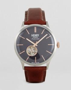 Часы с коричневым кожаным ремешком Henry London - Коричневый