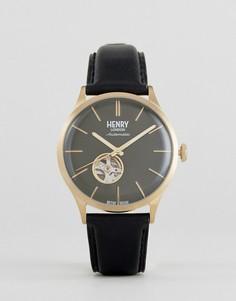 Часы с черным кожаным ремешком Henry London - Черный