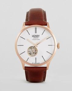 Часы со светло-коричневым кожаным ремешком Henry London - Рыжий