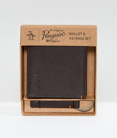Коричневый бумажник и брелок для ключей Original Penguin - Коричневый