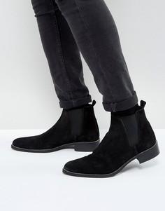 Черные замшевые ботинки челси с отделкой вдоль подошвы ASOS - Черный