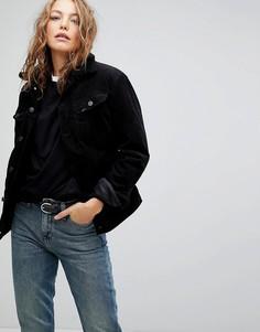 Джинсовая куртка с воротником из искусственного меха Lee - Черный