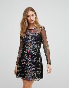 Платье с сетчатым верхним слоем, длинными рукавами и цветочной вышивкой Rd & Koko - Черный