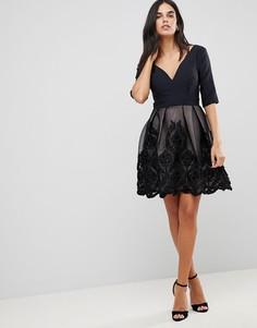 Платье мини с аппликацией Little Mistress - Черный