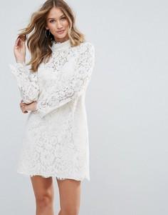 Кружевное платье с высоким воротом Deby Debo Dorothy - Белый