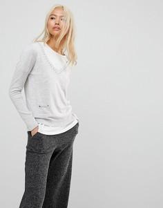 Джемпер с V-образным вырезом и карманами Subtle Luxury - Серый