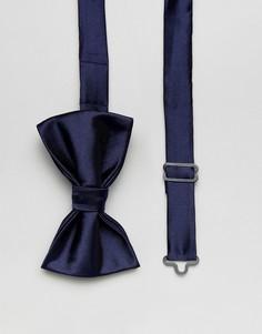 Темно-синий однотонный атласный галстук-бабочка Devils Advocate - Темно-синий