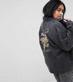 Джинсовая куртка оверсайз с вышивкой тигра Chorus Plus - Черный