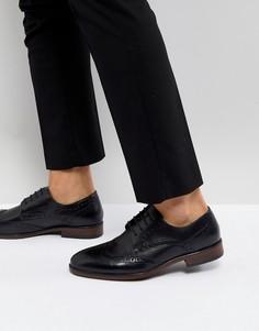 Черные кожаные броги Burton Menswear - Черный