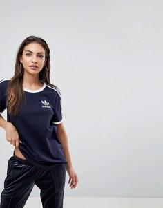 Темно-синяя футболка с тремя полосами adidas Originals - Темно-синий
