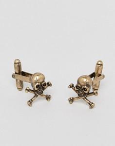 Золотистые запонки в виде черепов ASOS - Золотой
