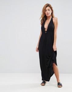 Пляжное трикотажное платье макси с глубоким вырезом и завязкой спереди ASOS - Черный