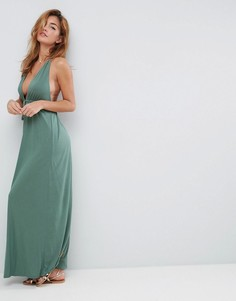 Пляжное трикотажное платье макси с глубоким вырезом и завязкой спереди ASOS - Зеленый